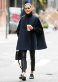 Olivia Palermo looks classy in all-black while out on a coffee run in Tribeca, New York