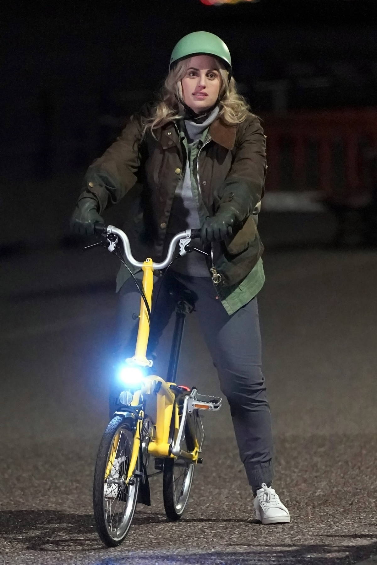 Rebel Wilson gets back on two wheels following her bike accident in London as she films her new movie in Merseyside, UK