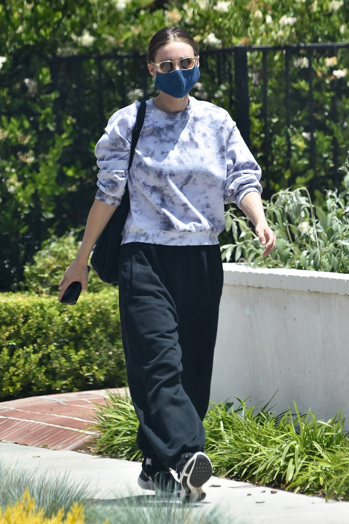 Rooney Mara wears a tie-dye sweatshirt and sweatpants for a spa day in Hollywood, California