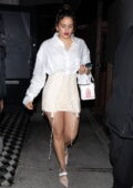 Rosalia looks stunning in all-white as she leaves a late dinner with Travis Scott at Craig's in West Hollywood, California