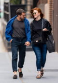 Rose Leslie and Kit Harington walk hand in hand while out on a shopping trip in New York City