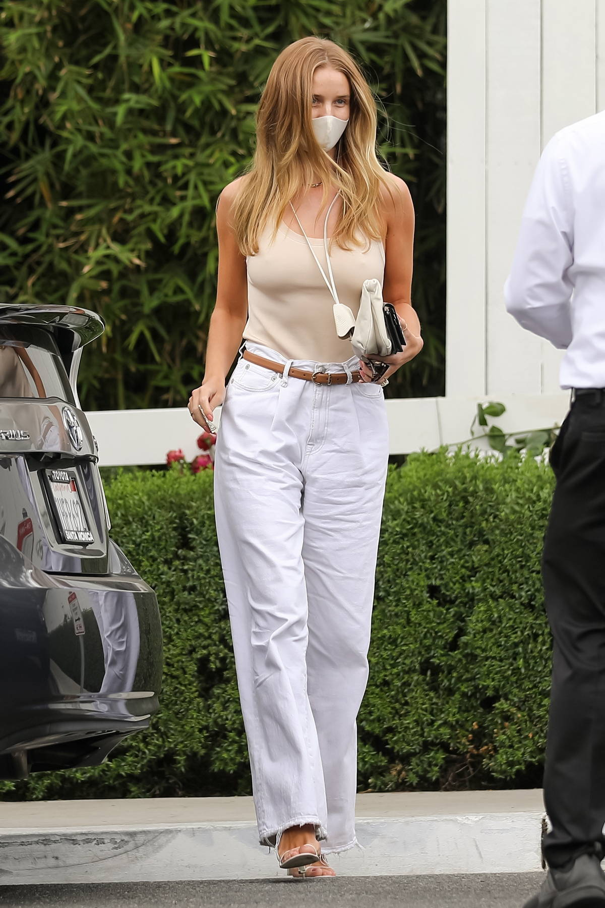 Rosie Huntington-Whiteley looks chic while attending a private event at the San Vicente Bungalows in West Hollywood, California