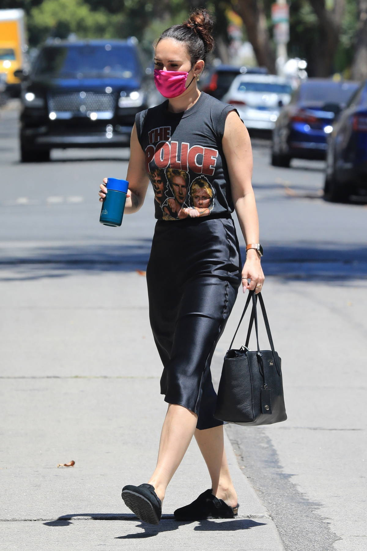 Rumer Willis leaving Pilates wearing a 'The Police' t-shirt in West Hollywood, California