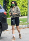 Rumer Willis sports a cropped sweatshirt and black legging shorts as she leaves her Pilates class in West Hollywood, California