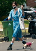 Scout Willis seen wearing a blue robe dress while visiting a friend with her pup in Los Feliz, California