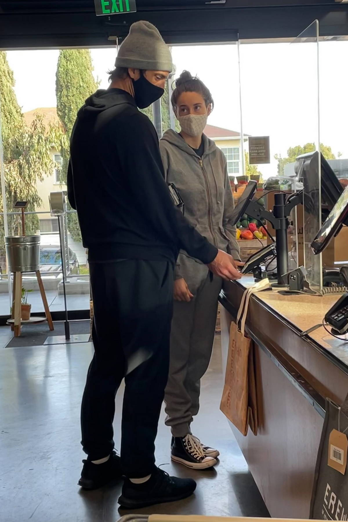 Shailene Woodley and Aaron Rodgers step out for some grocery shopping at Erewhon Market in Santa Monica, California