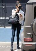 Shay Mitchell sports an off-white sweatshirt and black leggings as she leaves a skin care center in Beverly Hills, California