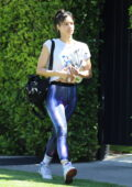Sofia Boutella flashes her abs in a Nike tee and leggings as she leaves a Pilates class in West Hollywood, California
