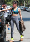 Sofia Boutella showcases her fit frame in a colorful crop top and leggings as she leaves a Pilates class in West Hollywood, California
