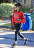Sofia Boutella sports a red sweatshirt and black while heading to a Pilates class in West Hollywood, California