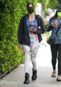 Sofia Boutella sports colorful printed leggings as she arrives for her Pilates class in West Hollywood, California