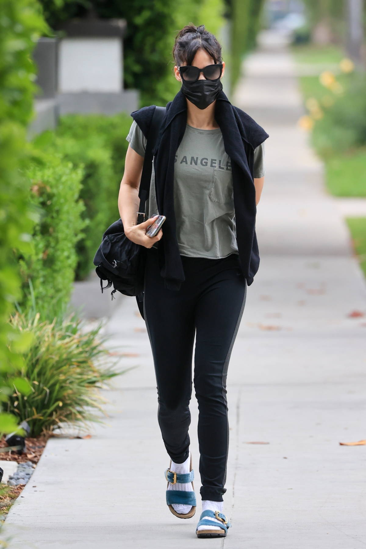 Sofia Boutella wears an army-green tee and Nike leggings while arriving for a Pilates class in West Hollywood, California