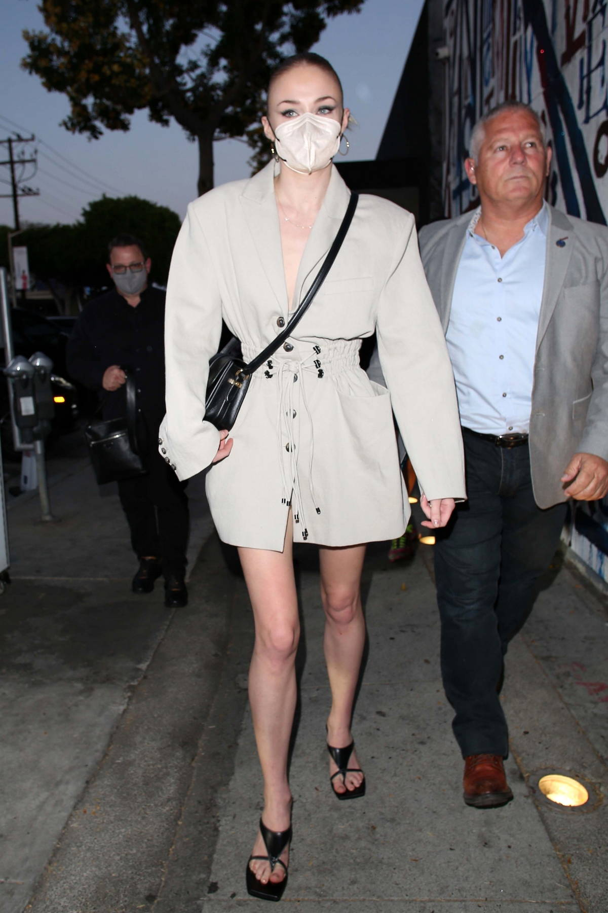 Sophie Turner arrives for dinner at Craig's with Joe, Nick, and Kevin Jonas in West Hollywood, California