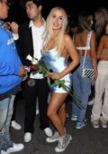 Tana Mongeau dazzles in a silver mini dress as she leaves Hyde Lounge in Hollywood, California