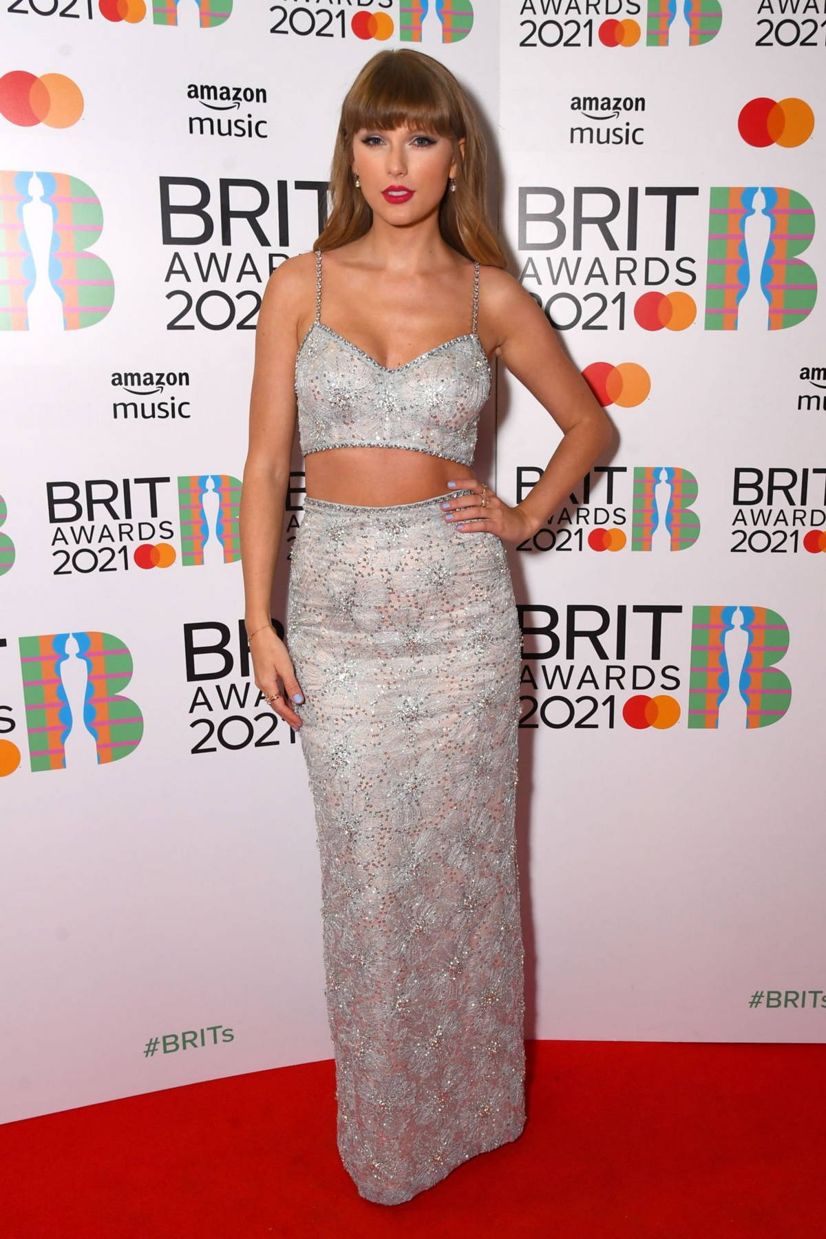 Taylor Swift attends The BRIT Awards 2021 at The O2 Arena in London, UK