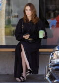 Zoey Deutch looks chic in all-black ensemble while out for an iced green tea matcha in Los Angeles