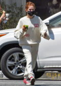 Zoey Deutch stays cozy in a sweatsuit while making a coffee run at Alfred's in Studio City, California