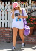 Addison Rae displays her legs in tiny white shorts while she grabs lunch at The Ivy in West Hollywood, California