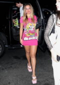 Addison Rae flaunts her legs in a pink mini dress at Carter Gregory's birthday party in West Hollywood, California