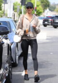 Alessandra Ambrosio goes out for a healthy bite with a friend at Kreation Organic after Pilates in Beverly Hills, California