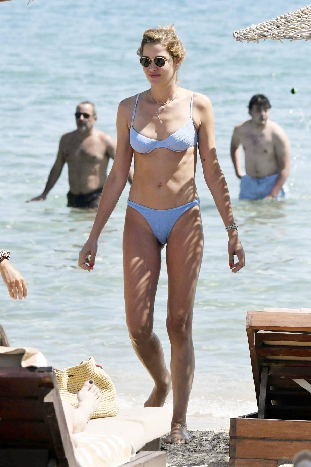Ana Beatriz Barros slips into a light blue bikini as she enjoys the beach while on holiday in Mykonos, Greece