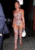 Anastasia Karanikolaou puts her curves on display while attending a birthday party at Petite Taqueria in West Hollywood, California