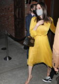 Angelina Jolie looks stunning in a yellow dress as she steps out for dinner with her kids at TAO on her 46th birthday in Los Angeles
