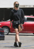 Ashley Benson displays her legs in all-black ensemble as she stops by her local CVS Pharmacy in Beverly Hills, California