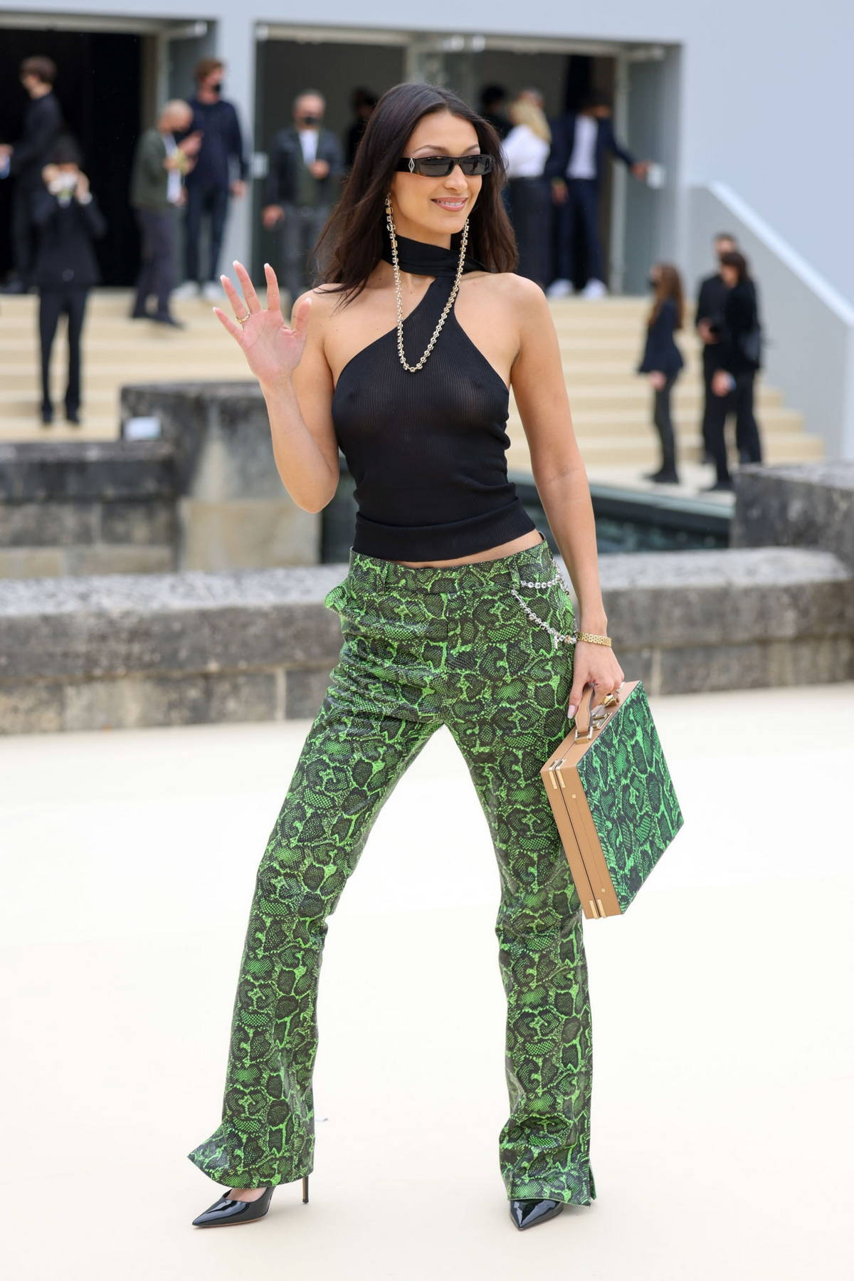 Bella Hadid attends the Dior Homme Menswear Spring-Summer 2022 show in Paris, France