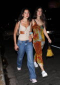 Dua Lipa walks arm in arm with a friend as she arrives to a birthday party at The Nice Guy in West Hollywood, California