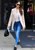 Eiza Gonzalez looks chic in soft pink blazer while leaving her hotel with boyfriend Paul Rabil in New York City