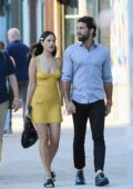 Eiza Gonzalez looks cute in a yellow mini dress while stepping with boyfriend Paul Rabil in New York City