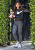 Eiza Gonzalez looks fab in a Nike sweater and grey leggings while attending a Pilates session in West Hollywood, California