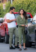 Eiza Gonzalez looks great in a green jumpsuit while out for a dinner date with boyfriend Paul Rabil in Venice Beach, California