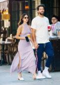 Eiza Gonzalez looks stunning in a lavender dress during a coffee run with boyfriend Paul Rabil in New York City
