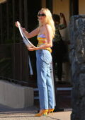 Elsa Hosk goes out for a low-key birthday dinner celebration with Tom Daly at Le Vallauris in Palm Springs, California