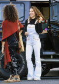 Elsa Pataky dons flared denim overalls as she makes a quick visit to the grocery store in Byron Bay, Australia
