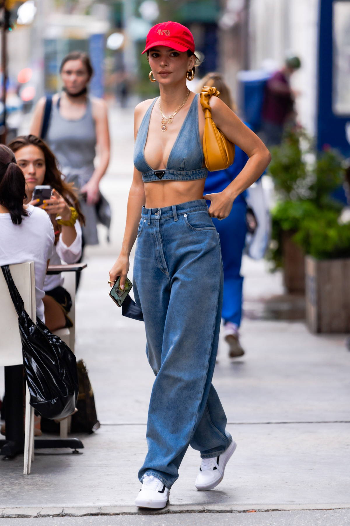 Emily Ratajkowski looks trendy in double denim while stepping out in New York City