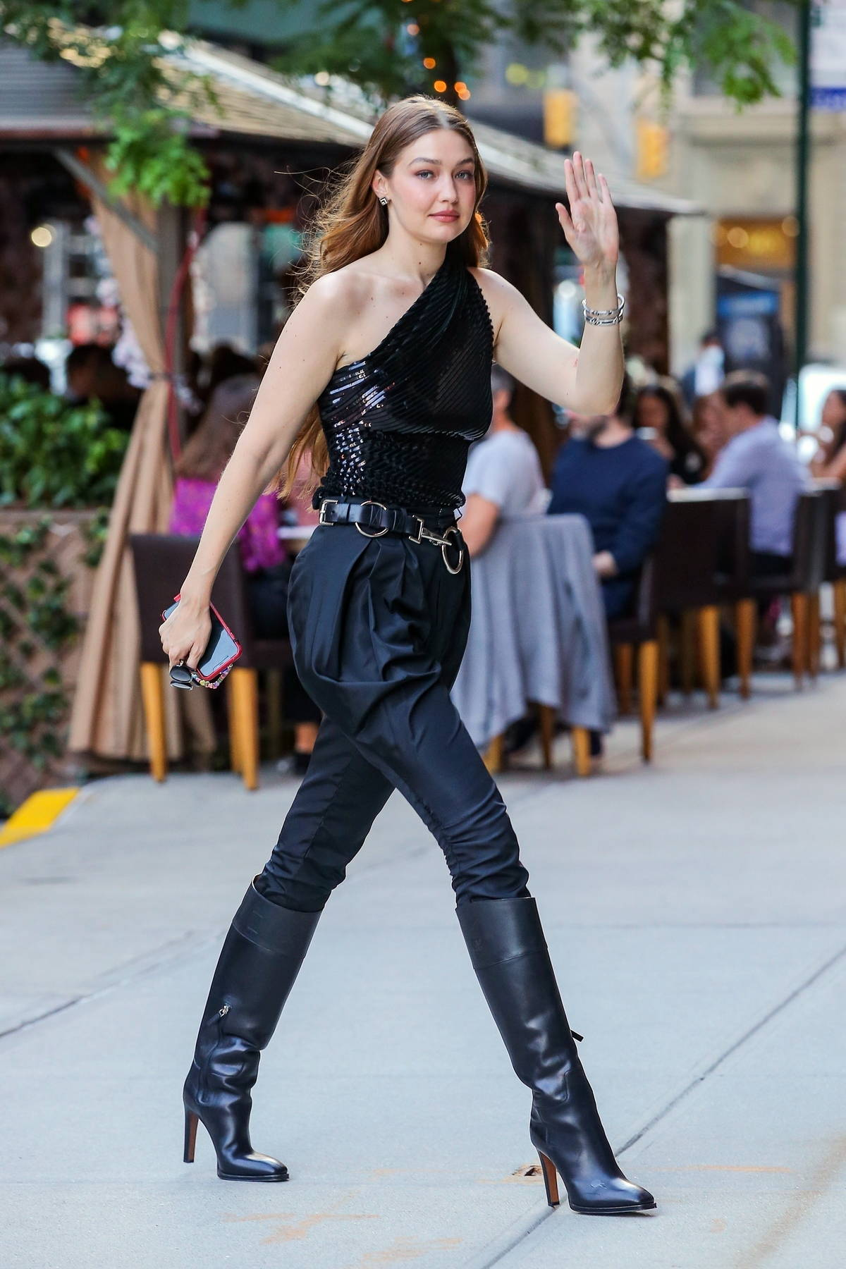 Gigi Hadid looks stunning in all-black while heading out for a photoshoot in New York City