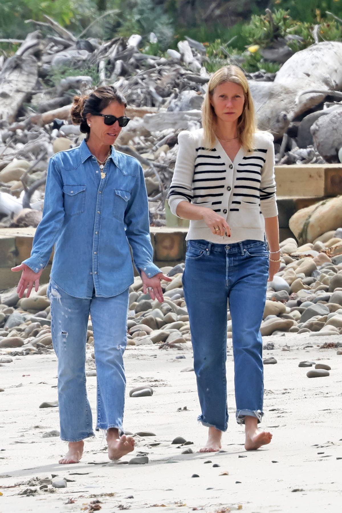 Gwyneth Paltrow takes a stroll on the beach after checking on the build of her eco-friendly mega mansion in Montecito, California