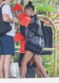 Hailey and Justin Bieber make their way inside the Beverly Hills Hotel for a brunch date in Beverly Hills, California