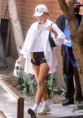 Hailey Bieber gets leggy in tiny shorts while visiting a medical office building in Beverly Hills, California