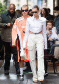Hailey Bieber keeps it chic as she leaves the Dinand By Ferdi restaurant with Justin Bieber in Paris, France
