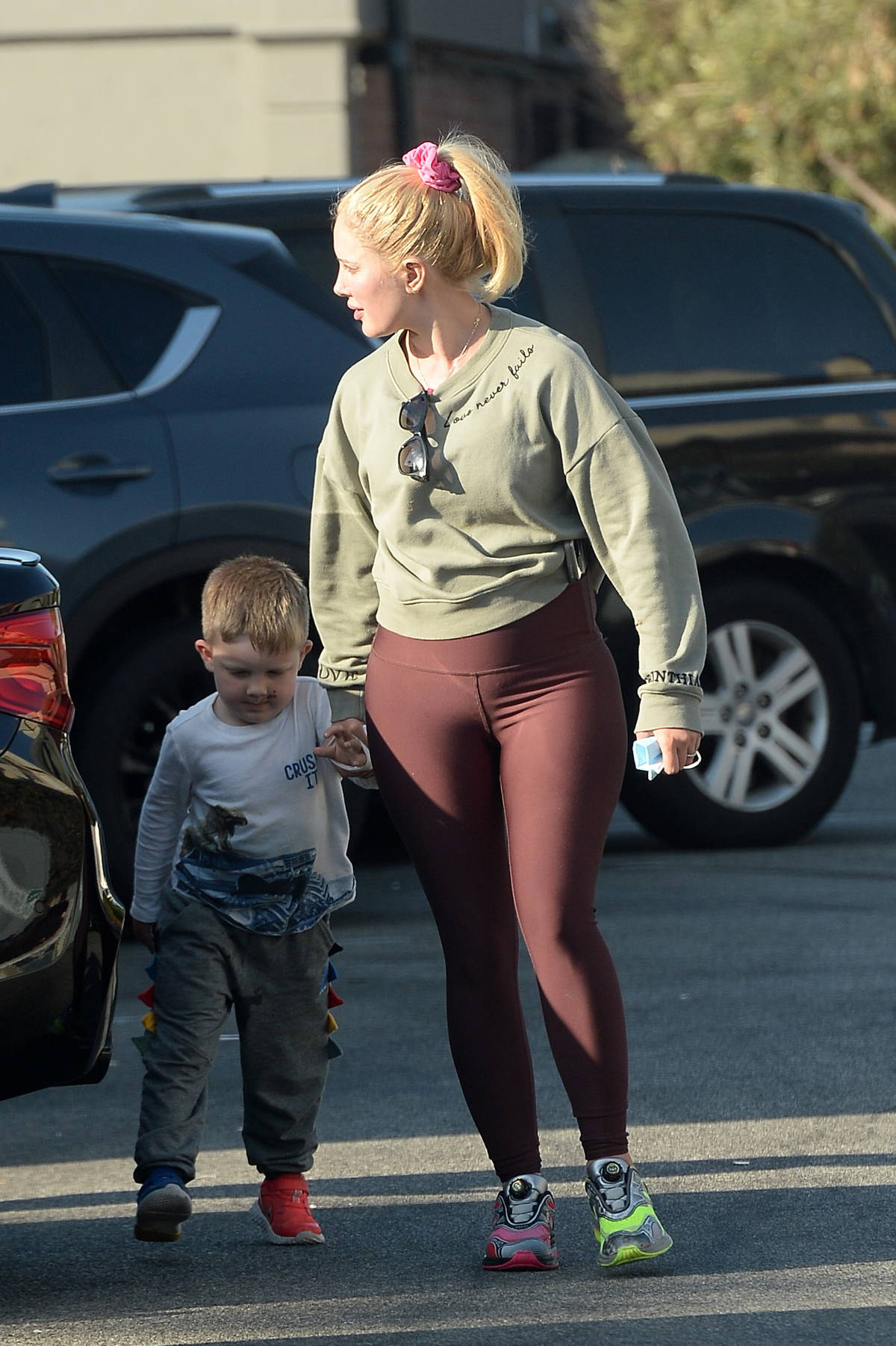 Heidi Montag wears a sweatshirt and leggings while out with her family in Los Angeles