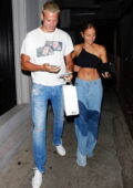 Innana Sarkis flaunts her toned abs during a date night with boyfriend Matthew Noszka at Craig's in West Hollywood, California