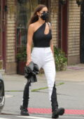 Irina Shayk looks stylish in a black and white outfit while picking up her daughter in New York City