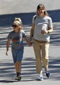 Jennifer Garner is all smiles while visiting Ben Affleck with their son in Pacific Palisades, California