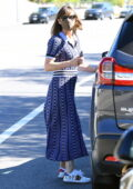 Jennifer Garner picks up her son from school and takes him to his swimming lessons in Brentwood, California