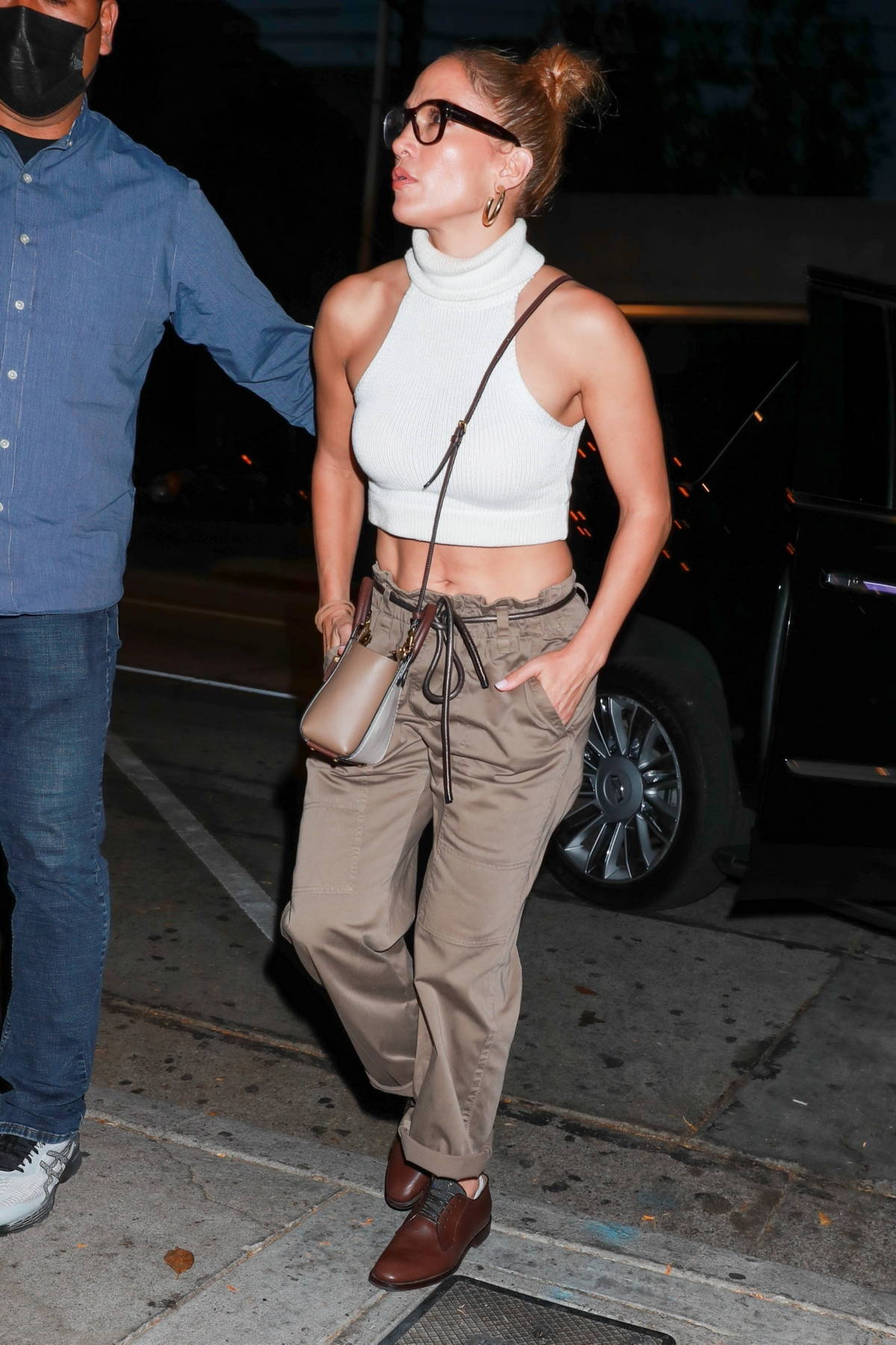 Jennifer Lopez arrives to celebrate her sister Lynda's birthday at Craig's in West Hollywood, California