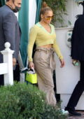 Jennifer Lopez wears a mint-green crop top and baggy cargo pants for a lunch date in West Hollywood, California